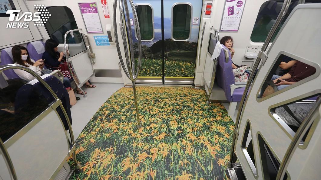 圖/中央社 台灣海島風情躍上機捷 彩繪列車透清涼