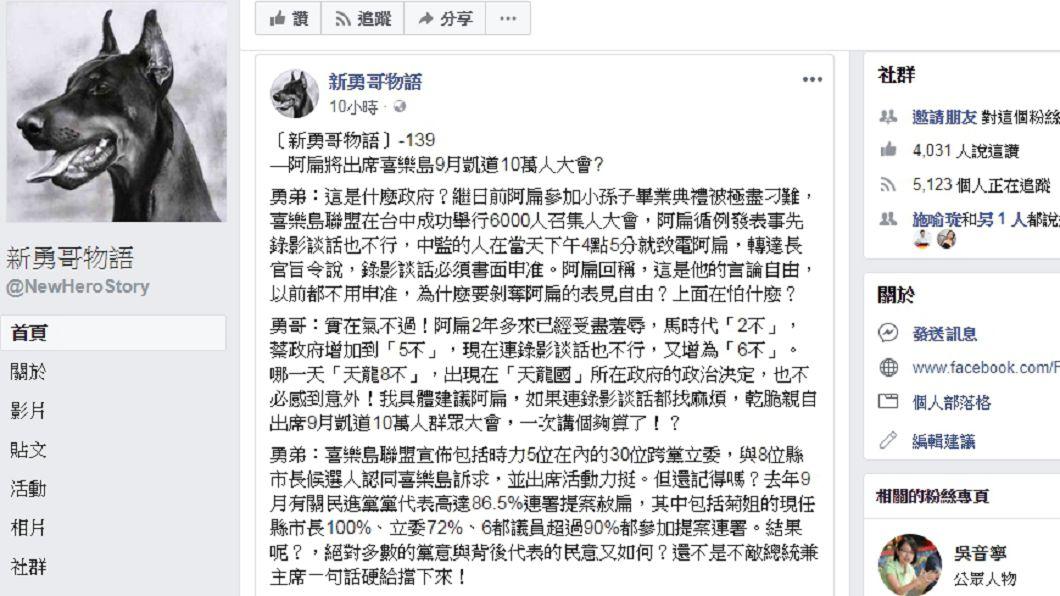 圖/新勇哥物語臉書