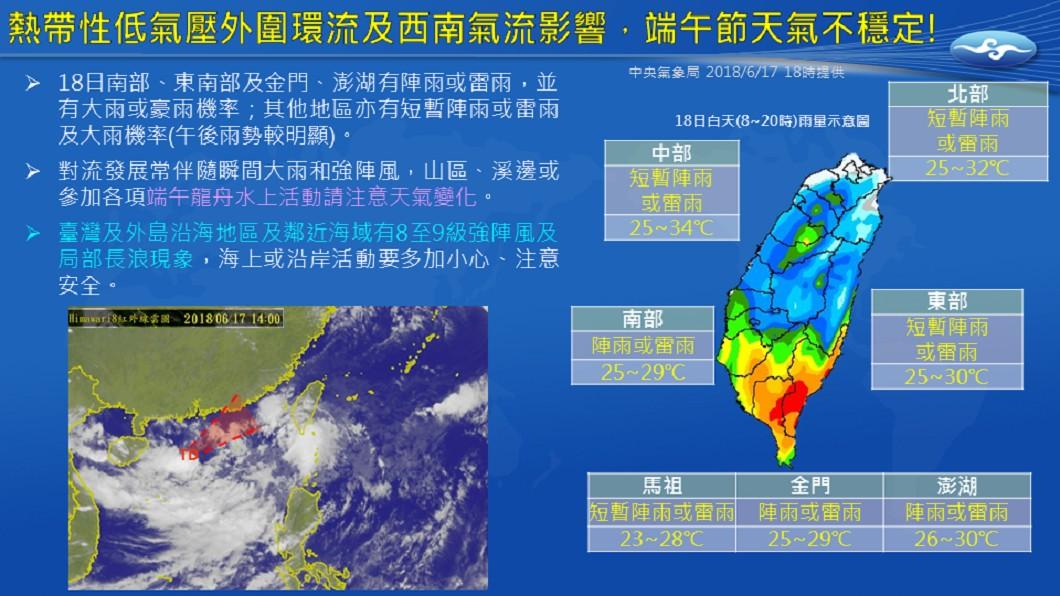 圖/中央氣象局 南台灣慎防豪雨 一張圖看懂端午節天氣