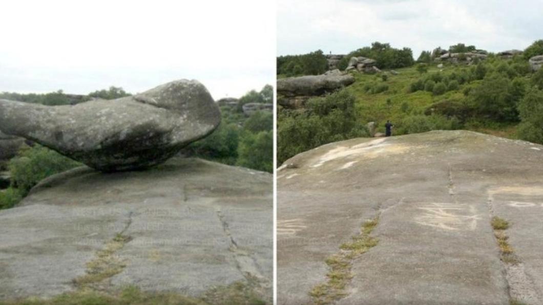 屁孩們在岩石上刻字。圖/翻攝自推特