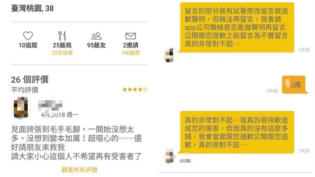 有女網友在約會App和男網友約吃飯,事後放對方鴿子還誣陷被性騷。(圖/翻攝自「Eatgether一起吃」臉書粉絲團) 女約會放鴿子還誣陷性騷 男提告反擊她求饒