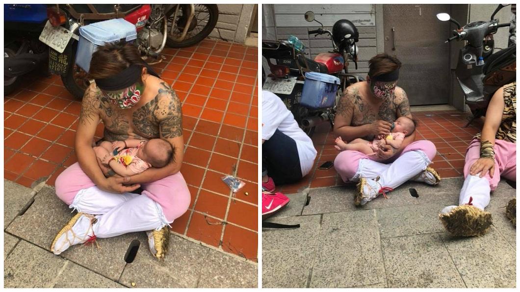 這名八家將利用休息時間照顧孩子,讓網友直呼超有愛。(圖/翻攝自爆廢公社) 刺青8+9「這舉動」超有愛 網讚:最美一幕