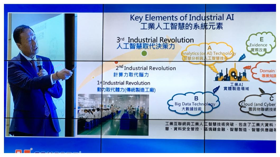 郭台銘透過電視牆向小股東解說工業互聯網,強調未來戰略說就是「雲•移•物•大•智•網+機器人」,五年後,希望能做出稱霸全球市場的人工智慧機器人。 圖/TVBS
