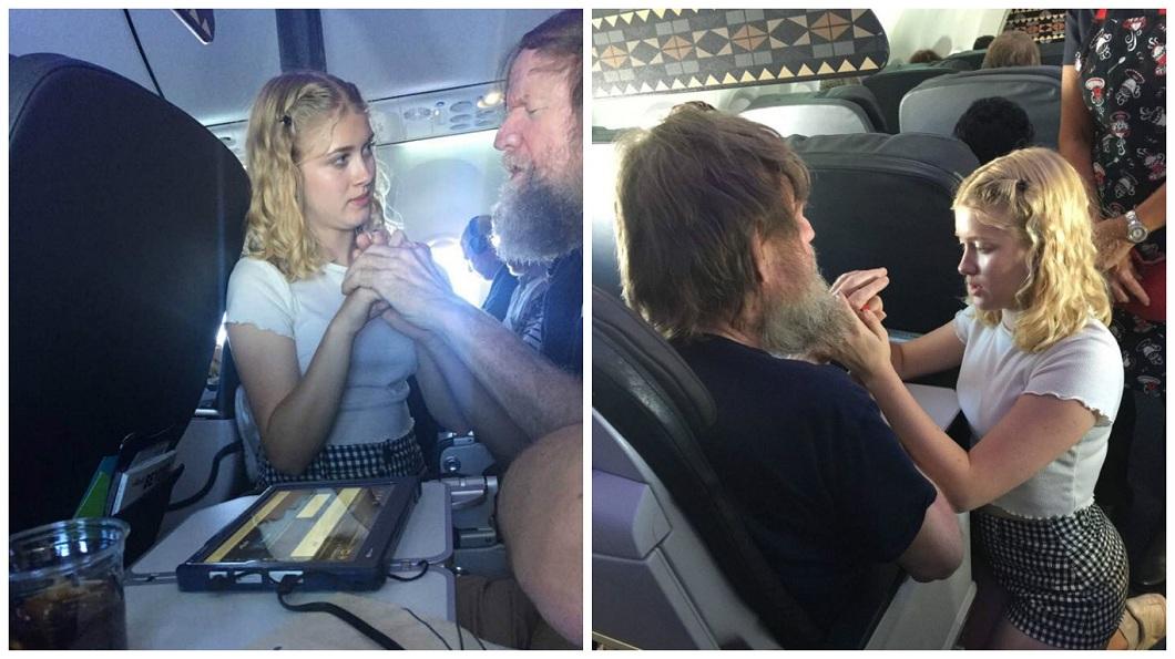 美國一名少女貼心地用手語幫聾盲人士服務,空服員大讚他是天使。(圖/合成圖,翻攝自臉書和阿拉斯加航空公司部落格) 15歲少女機上比手語助聾盲大叔 網讚:天使