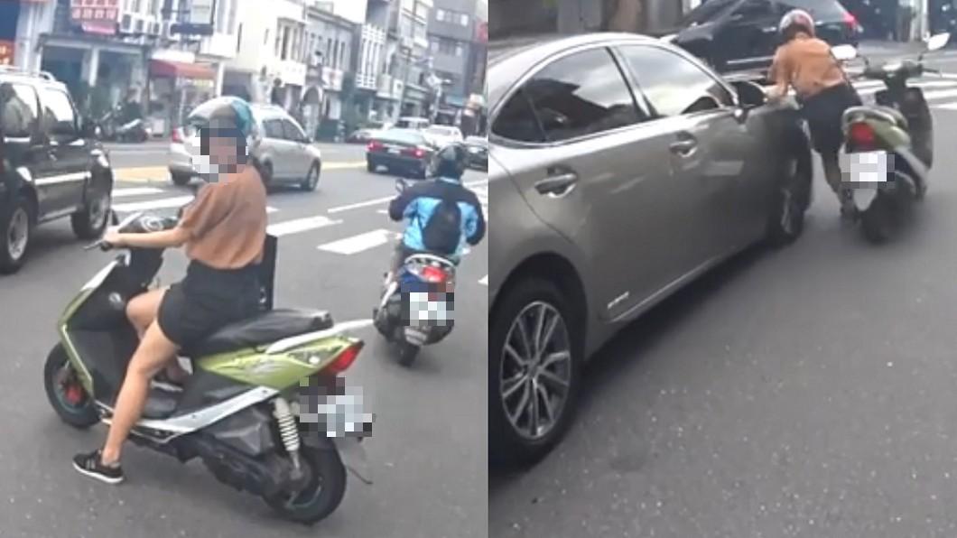 圖/翻攝自 臉書 尷尬了!紳士禮讓正妹騎士 下一秒卻被車撞