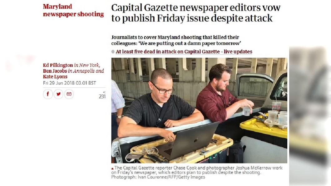 圖/翻攝自The Guardian 辦公室遭血洗 美首都報記者暗處奮力發稿