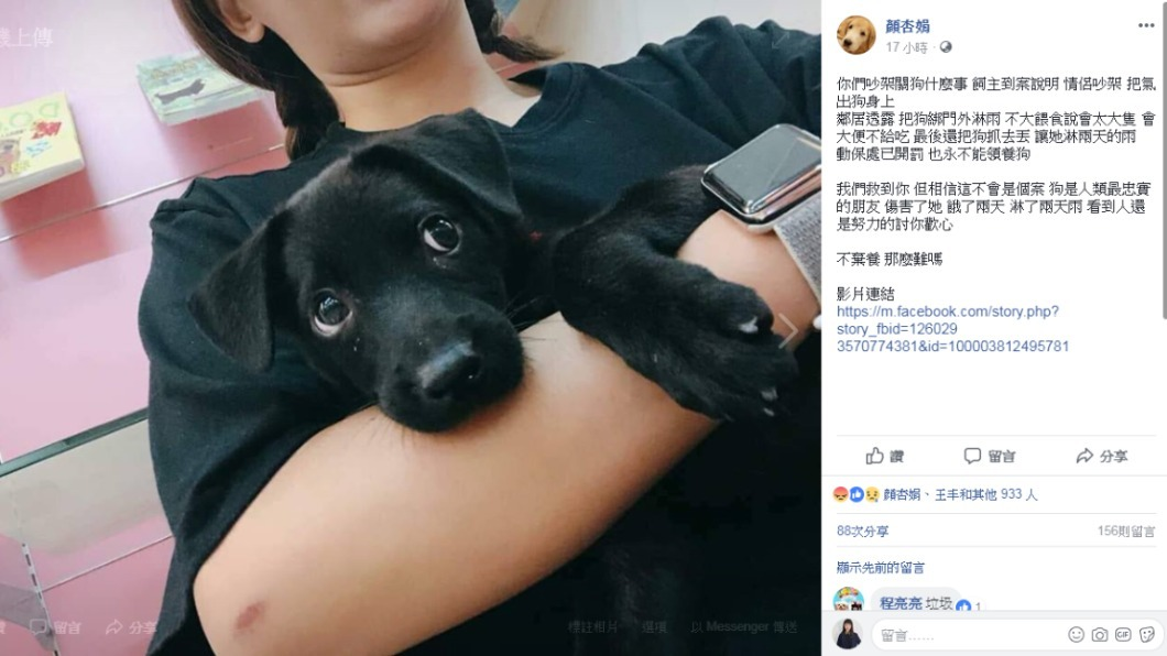 圖/社團法人愛狗人協會理事長顏杏娟臉書授權提供
