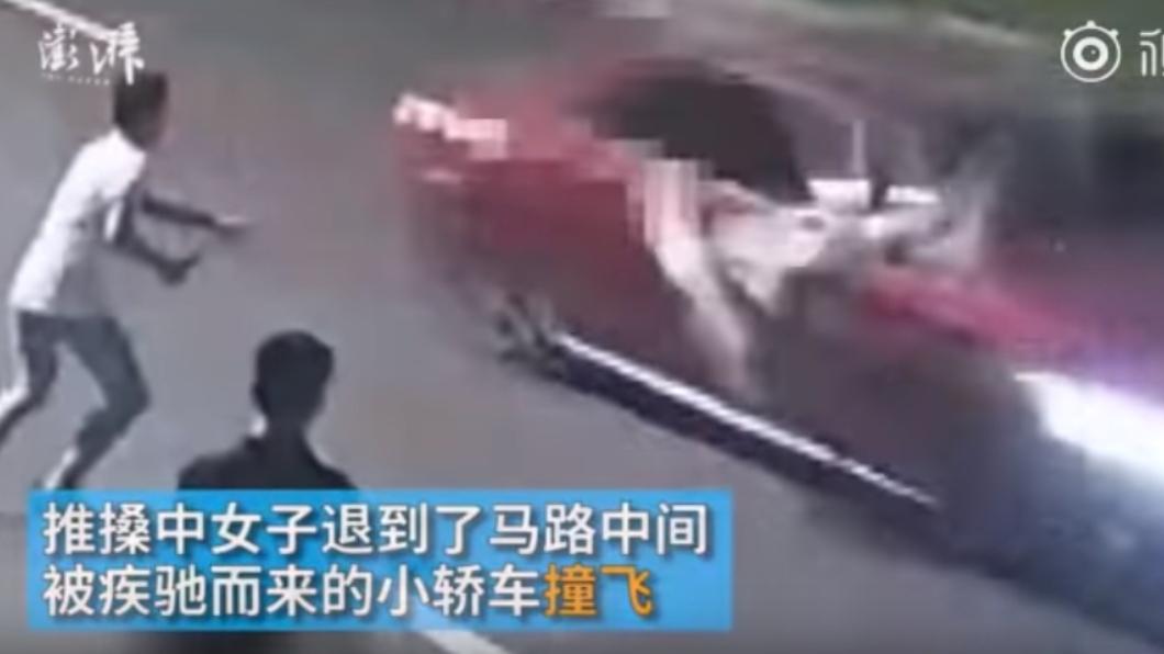 圖/翻攝自彭湃新聞 與2男激烈爭吵!她被「逼到馬路中央」遭瞬間撞飛慘死
