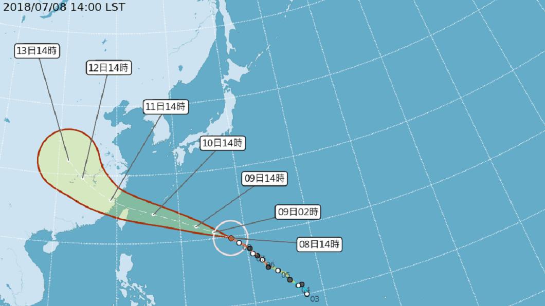 瑪莉亞颱風行徑類似西北颱,氣象局正密切關注。(圖/翻攝自中央氣象局網站) 西北颱超恐怖!台灣曾遭襲4次 全台釀296死
