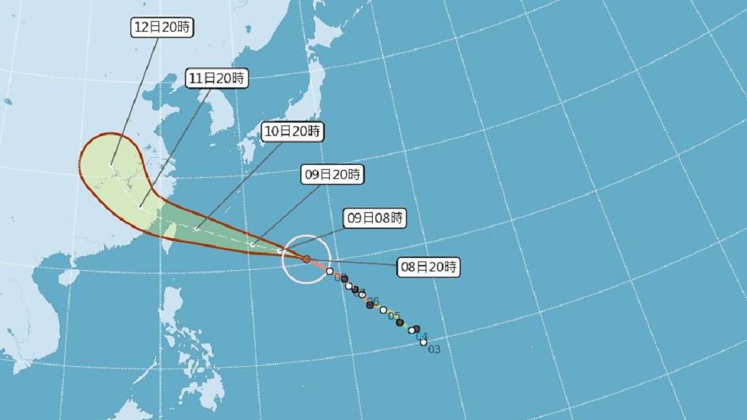 瑪莉亞颱風預估速度將稍微增快,不排除提早發布海陸警。(圖/翻攝自中央氣象局) 10日上午若發陸警 北市:中午宣布當晚是否停班課