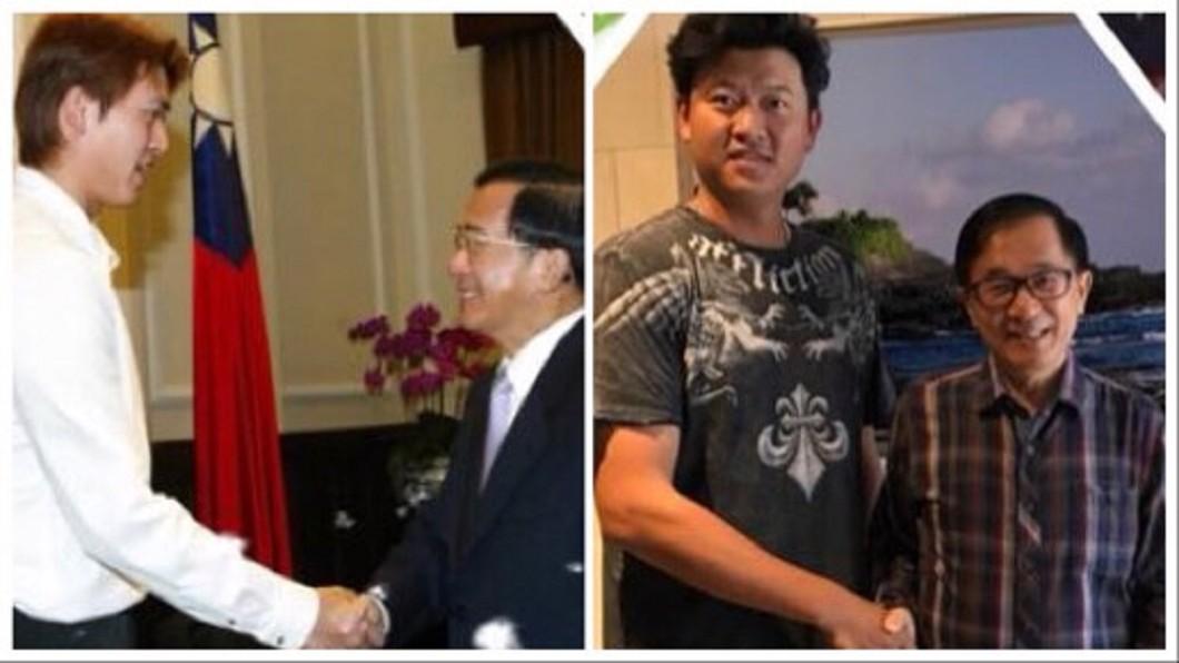 圖/翻攝自陳水扁「新勇哥物語」臉書 電梯巧遇王建民 阿扁自豪「幸運之手」讓他成為勝投王