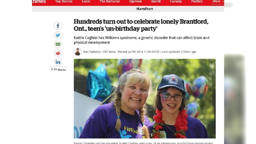 圖/翻攝自加拿大廣播公司CBC官網 加國罕見疾病少女嘆沒朋友 母辦派對獲迴響