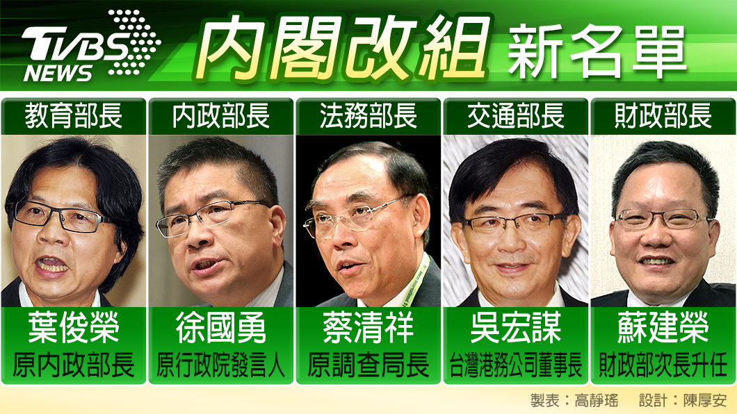 圖/TVBS 賴清德戰鬥內閣就位 改組大換血9人名單出爐