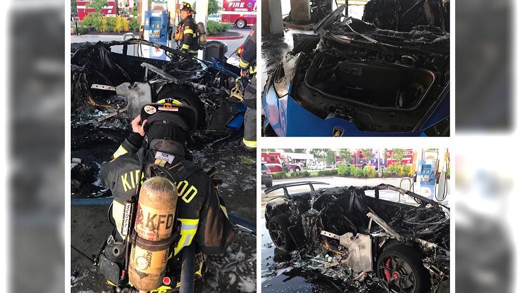 火勢撲滅之後,整輛藍寶堅尼被燒成廢鐵。(圖/翻攝自Kirkwood Firefighters Community Outreach臉書粉絲團)