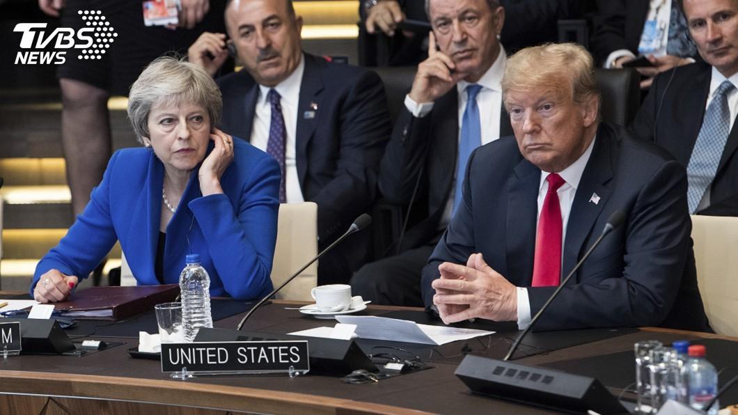 圖/達志影像美聯社 不只批梅伊脫歐藍圖 川普還讚強生有首相樣