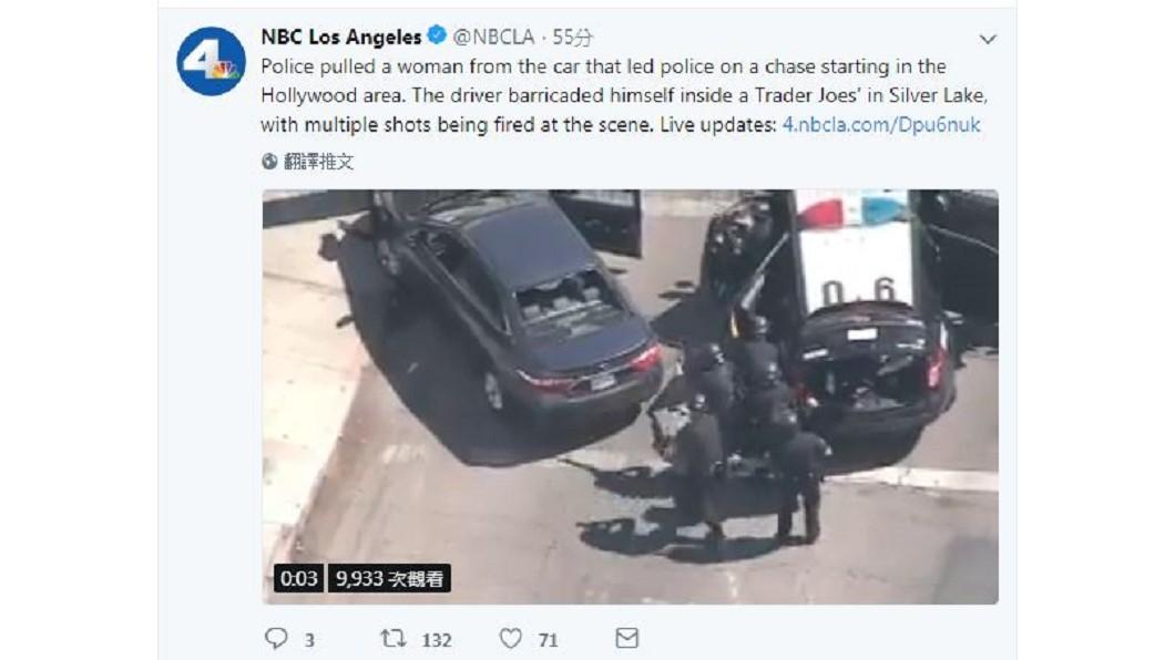 圖/翻攝自NBC Los Angeles Twitter 洛杉磯槍手闖超市 挾持多人和警方對峙