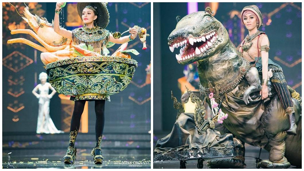 日前泰國小姐選拔,其中在民族服飾這關,有佳麗穿著酸辣湯裝和恐龍裝。(圖/翻攝自Miss Grand Thailand臉書粉絲團) 選美變Cosplay!佳麗騎恐龍出場 還變身酸辣蝦湯