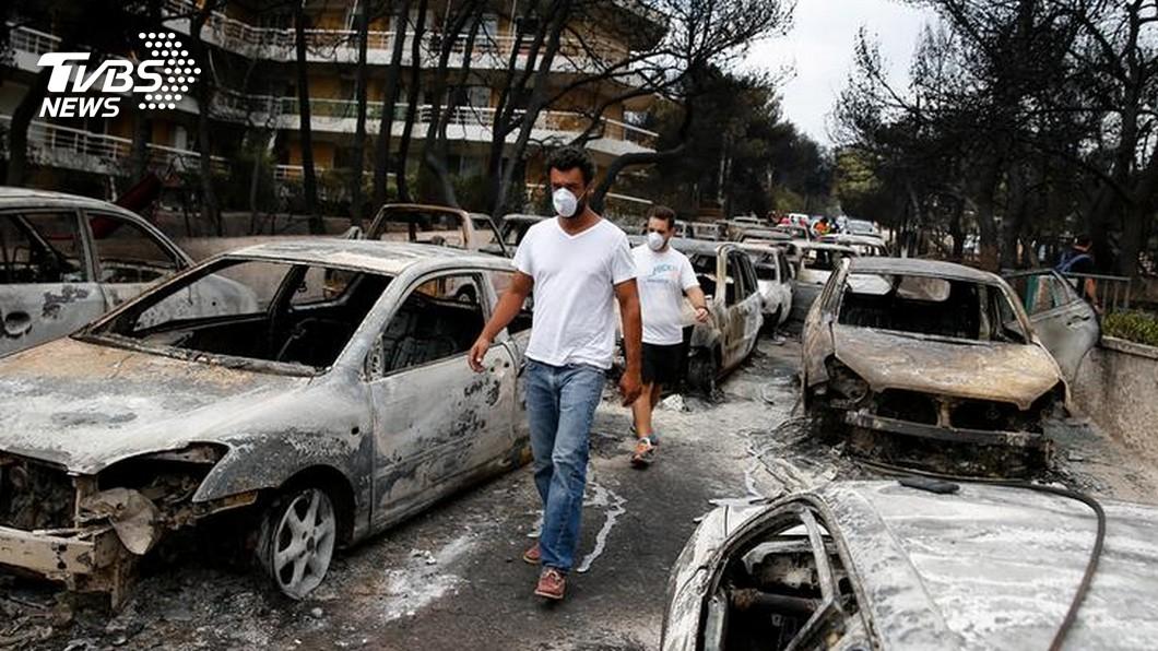 圖/達志影像路透社 希臘10年來最嚴重森林大火 釀至少74死
