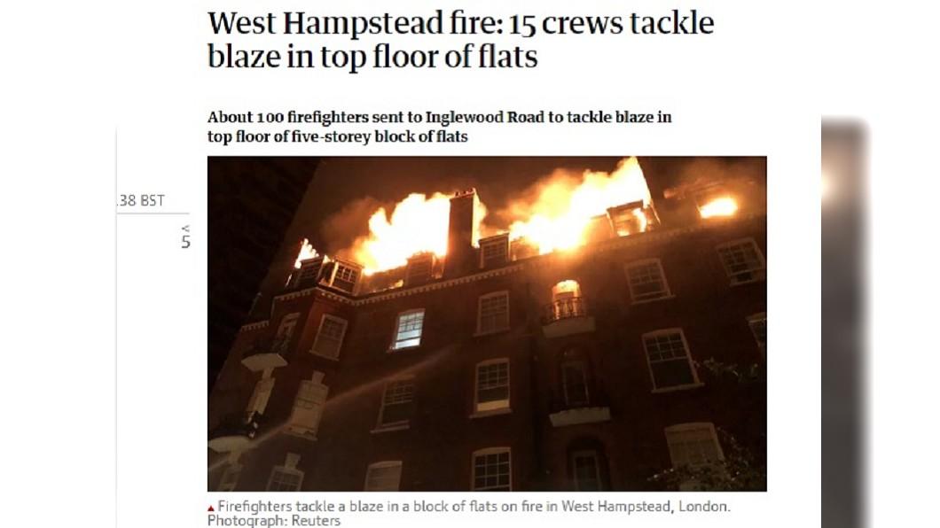 圖/翻攝自The Guardian 倫敦住宅大樓爆發大火 百名消防員出動救火