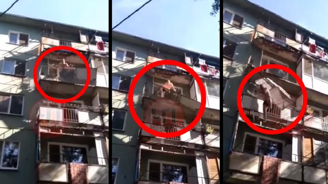 圖/翻攝YouTube 想證明「公宅超破舊」 下秒陽台斷開害他摔死