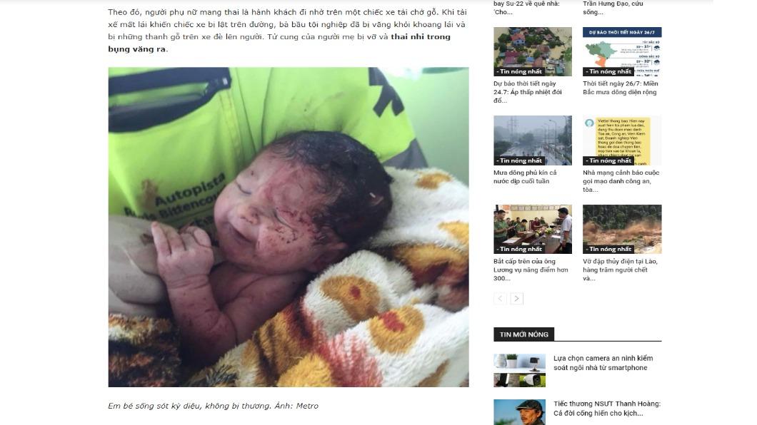 圖/翻攝自Baotonghop 孕婦車禍遭拋飛 「嬰兒擠出」奇蹟無傷存活