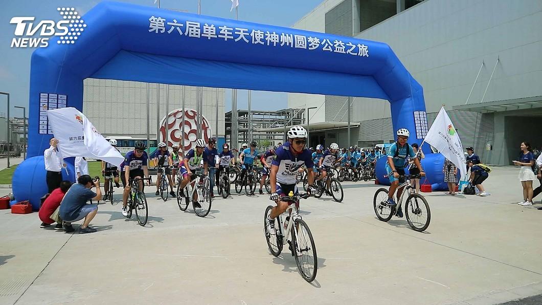 圖/中央社 無畏颱風和烈日 台灣青少年挑戰兩岸千里騎行
