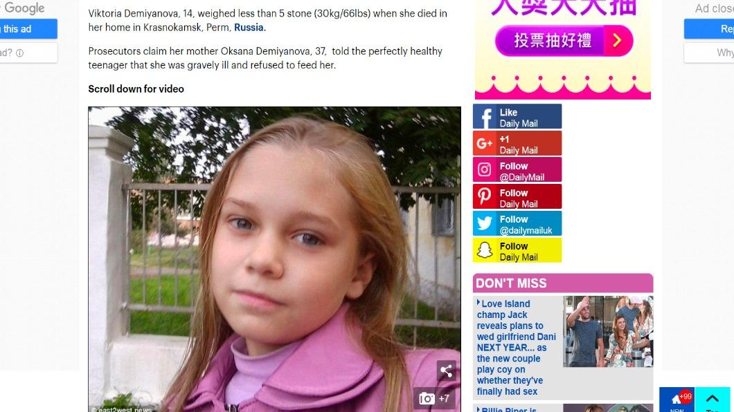 圖/翻攝自Dailymail 14歲少女遭親媽騙患癌症 活活餓死「僅剩28公斤」