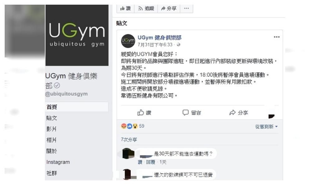 圖/翻攝自UGym 健身俱樂部臉書