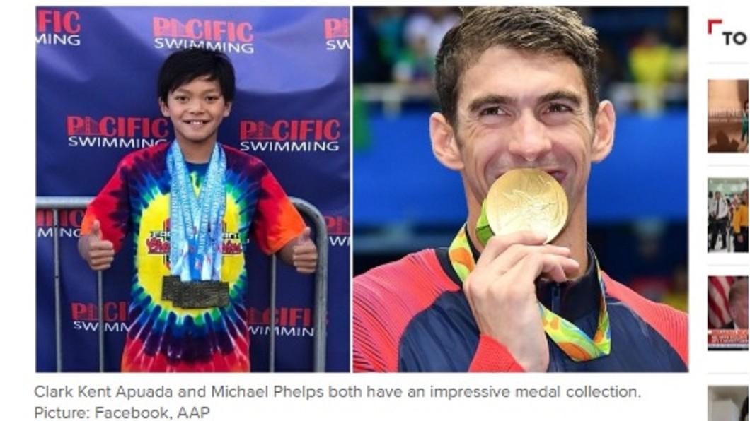 圖/翻攝自9news.com.au網站 美10歲游泳小將破紀錄 飛魚費爾普斯親賀