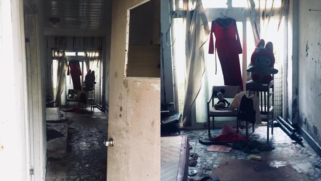 圖/翻攝自爆怨公社臉書 廢墟探險見「紅衣高掛」 2娃娃直盯嚇到他秒逃跑