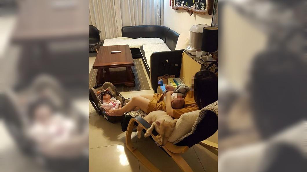圖/翻攝自爆怨公社臉書 手腳並用「抱娃又帶狗」 神照曝女人為母則強!