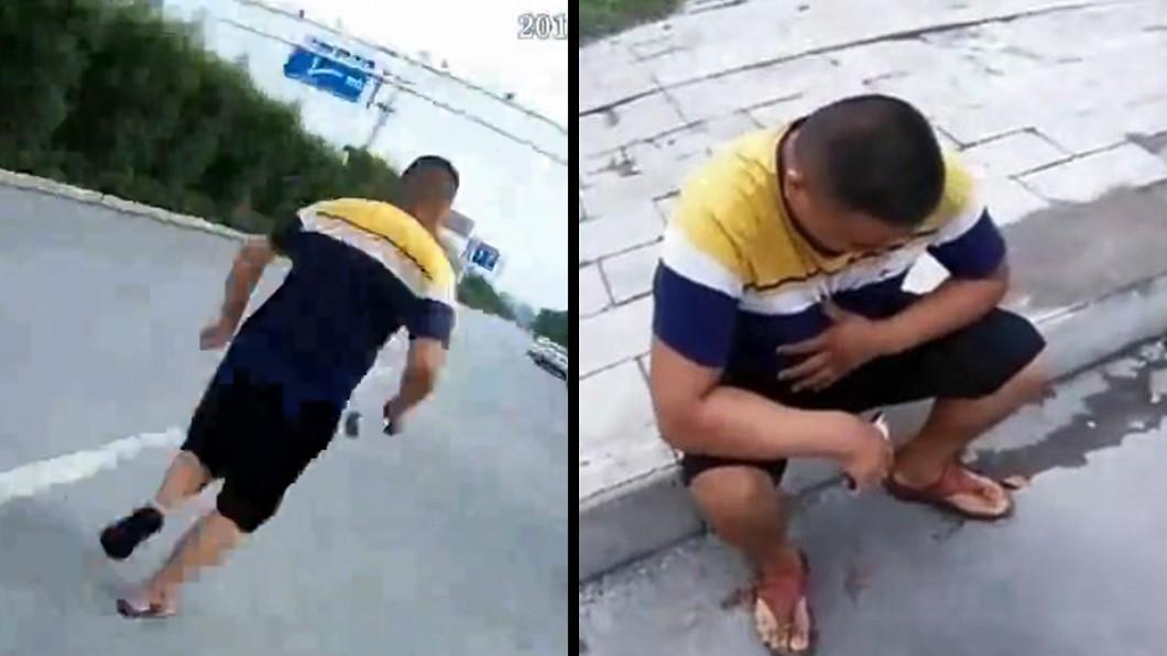 圖/翻攝新京報微博 他遇攔檢龜速逃逸 警「陪跑」調侃:要歇會嗎?