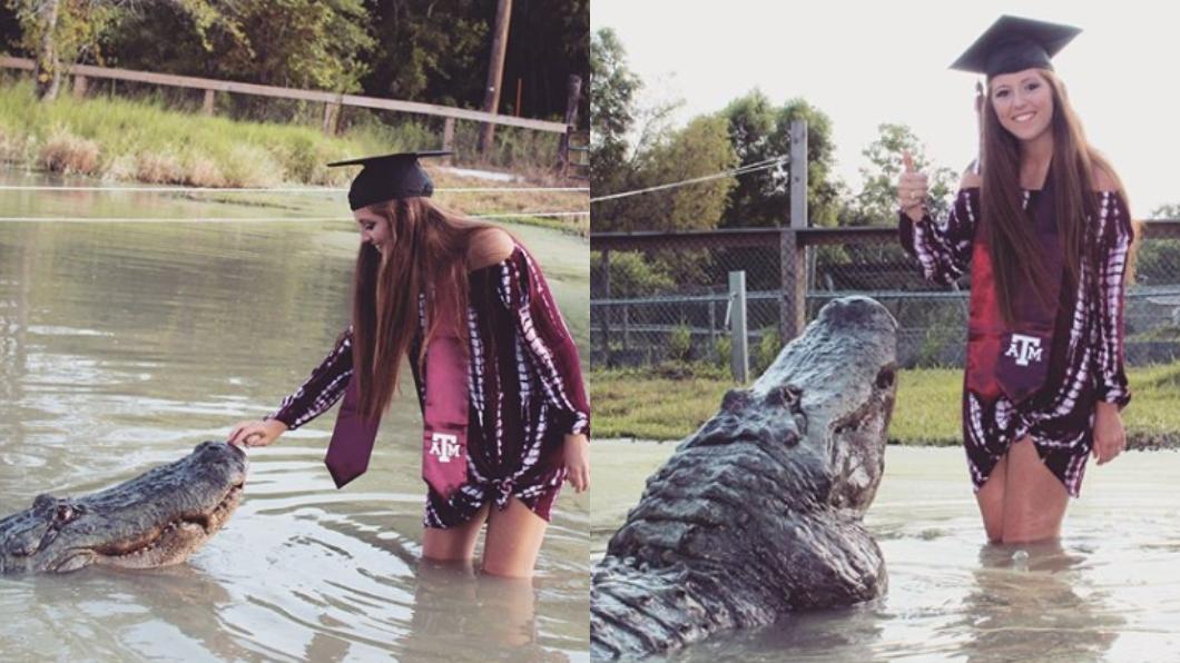 圖/翻攝自kenziealexis Instagram 這我麻吉!女大生黏鱷魚拍畢業照 背後原因暖哭