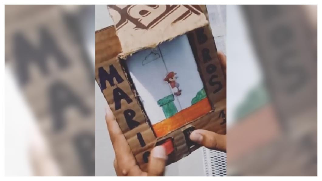 圖/翻攝自bigtrueno Instagram 超逼真!沒錢買遊戲機 男孩用紙板做「超級瑪利歐」