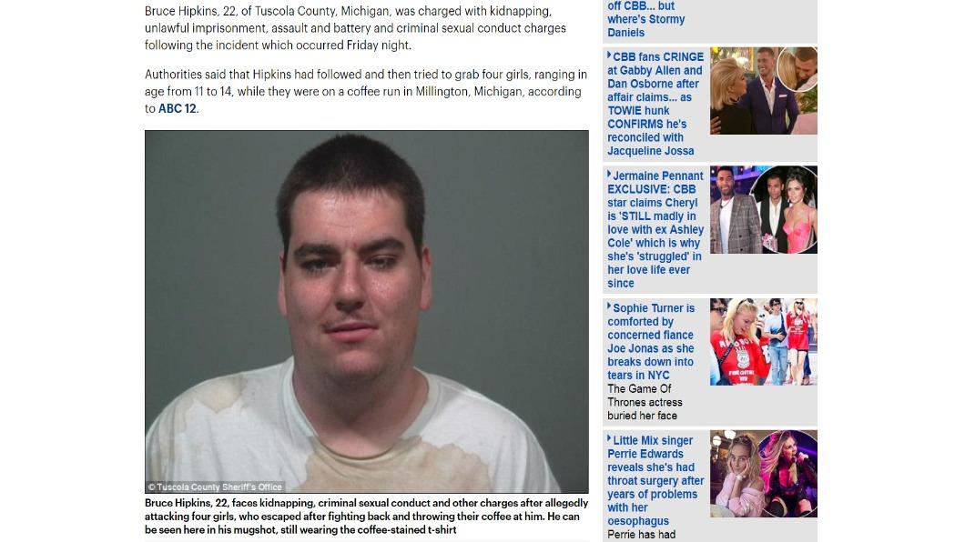 圖/翻攝自DailyMail 癡漢當街抓頸擄人 4少女潑熱咖啡反擊獲救