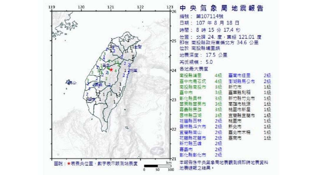 圖/中央氣象局 快訊/8:15地震!南投埔里5.0地震 最大震度4級
