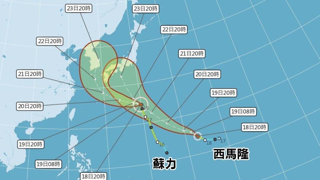 雙颱往日韓前進,對台灣無直接影響。圖/中央氣象局