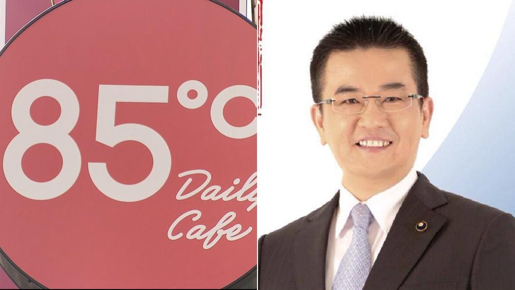 圖/TVBS(左)、翻攝自鄭世維臉書(右) 藍全代會現大桶「85度C」 他自費:聲援一下啊!