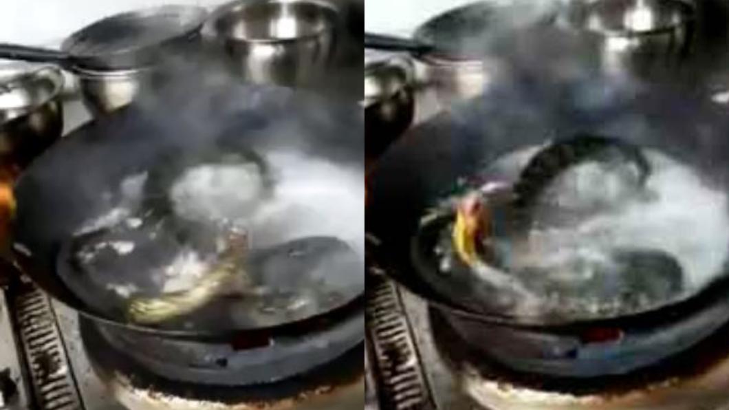 圖/翻攝自LiveLeak 逆襲?斷頭蛇丟入滾水中狂扭動 廚師全嚇壞