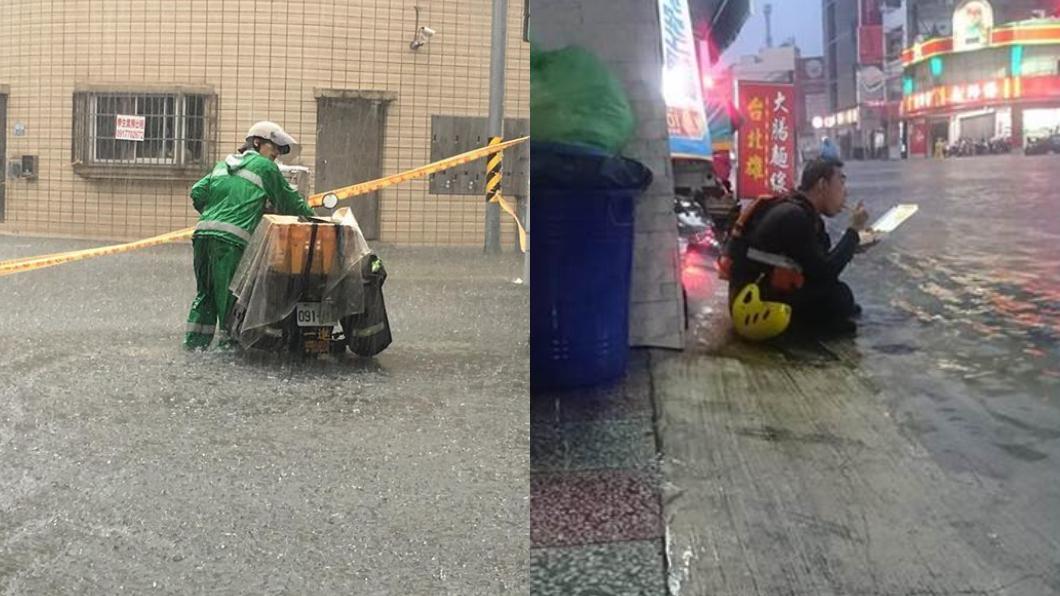 圖/台南諸事會社 辛苦了!他們「暴雨闖災區、腳泡水嗑便當」只想完成任務