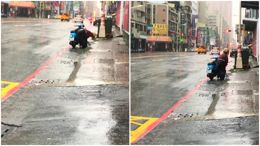 圖/翻攝自臉書「爆料公社」 阿嬤冒雨騎車 沿路彎腰掀水溝蓋清垃圾