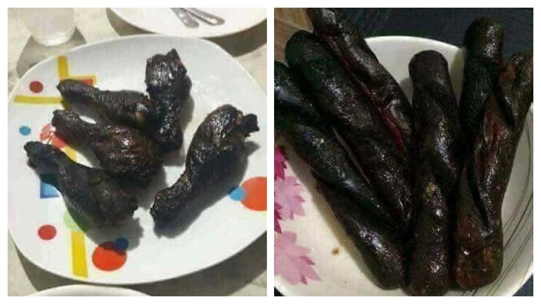 有網友分享自己接到家人要他回家吃大餐,沒想到驚見超恐怖的暗黑料理。(圖/翻攝自爆怨公社) 回家吃大餐…他驚見整桌「暗黑料理」 網笑:還活著嗎?