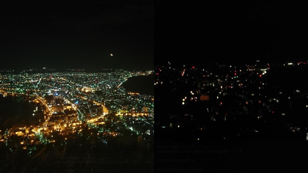地震前後的函館夜景。圖/翻攝自「@hiyori_ol 」推特 震後函館「百萬夜景」秒消失! 日網友PO慘烈對比照