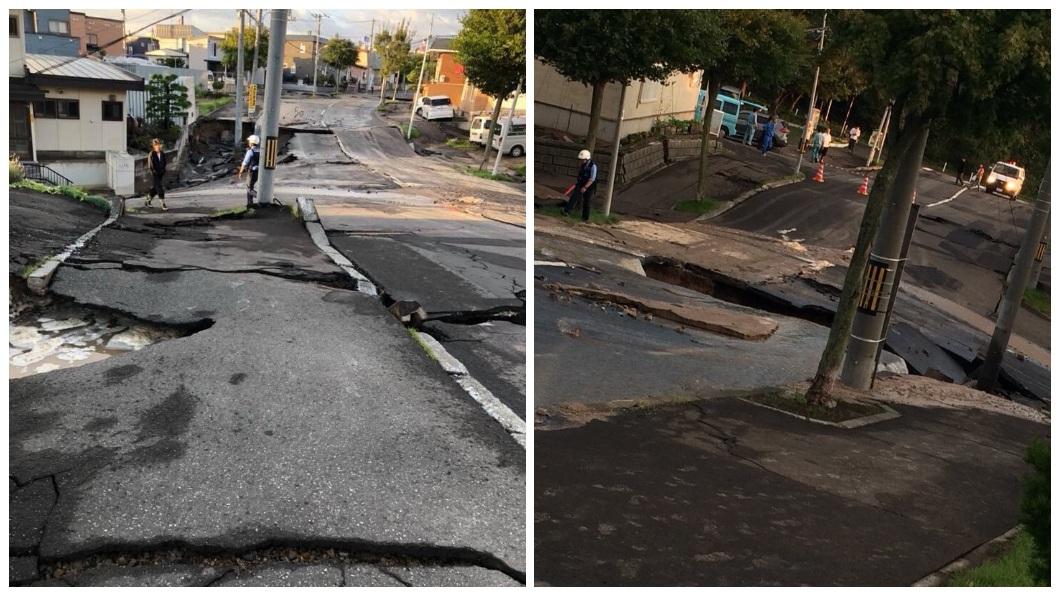 當地道路出現崩裂的情況。(圖/翻攝自推特)