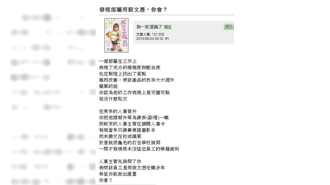 這名網友表示,人事主管去電到該學校,查不到該名下屬的學籍資料。(圖/翻攝自mobile01)