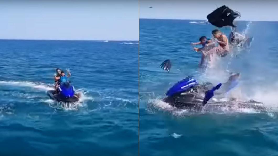 圖/翻攝自 Morocco News YouTube 影/父子開心騎乘水上摩托車 下秒慘遭爆炸噴飛半空