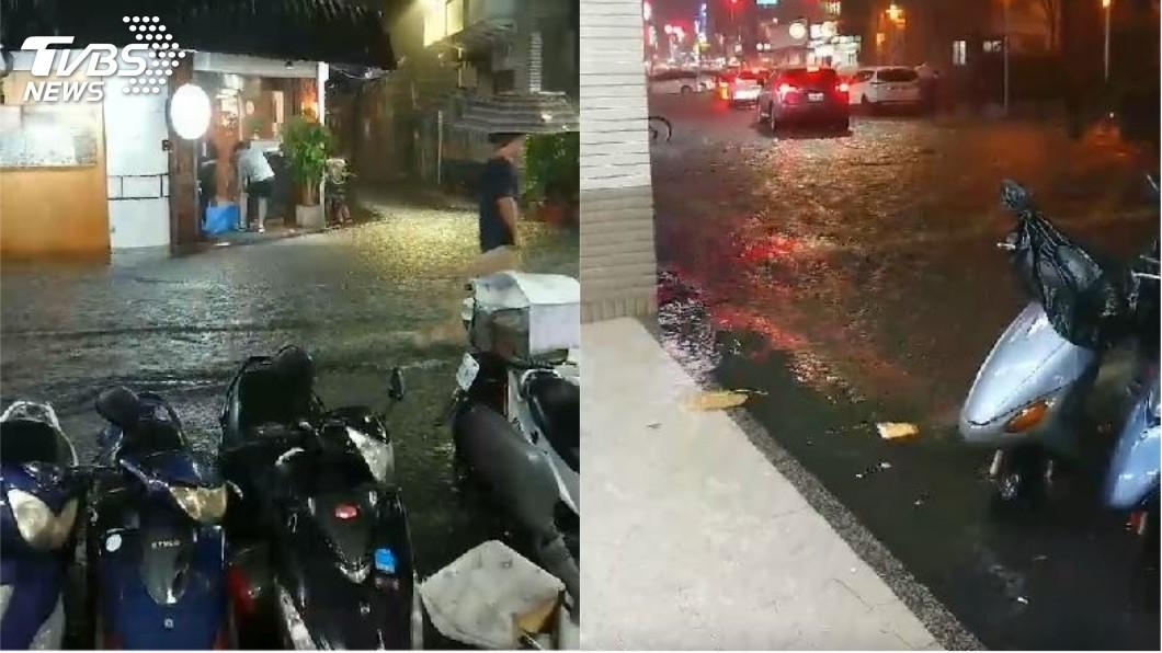 圖/TVBS 快訊/北市大雷雨 連雲街積水30公分淹店門口