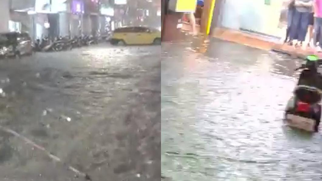 長安東路二段水淹至半個車輪高。圖/翻攝自爆料公社
