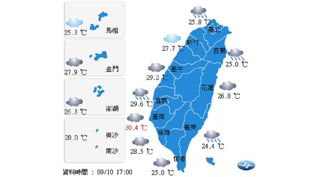圖/中央氣象局 週二各地有雨 東台南部大或豪雨
