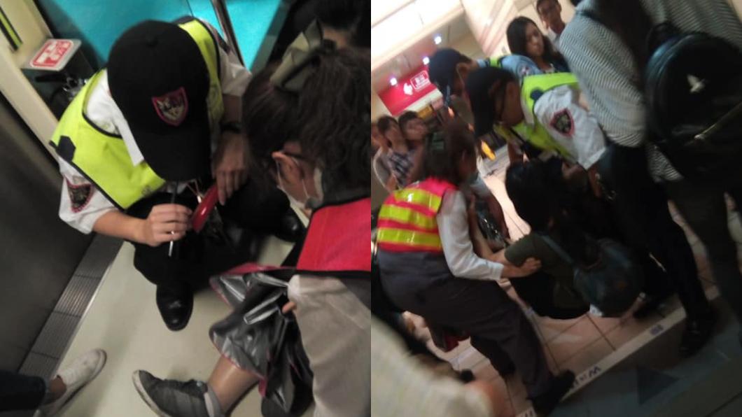 翻攝自/爆料公社 女跌坐車廂!北捷迅速暖心救援 她感動:當台灣人很光榮